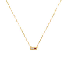 Kait and Toby Mini Yellow Gold Necklace with Ruby Birthstone