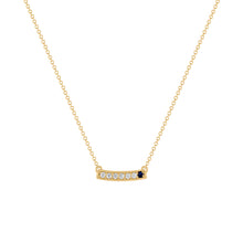 kait and toby medium size gemstone bar necklace with diamonds and september birthstone sapphire on thin yellow gold chain