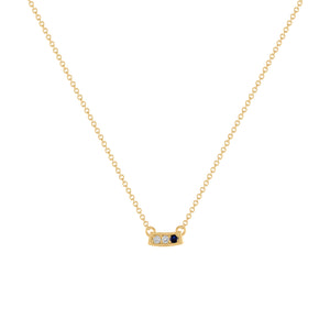 Kait and Toby Mini Yellow Gold Necklace with Sapphire Birthstone