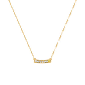 kait and toby medium size gemstone bar necklace with diamonds and april birthstone yellow diamond on thin yellow gold chain