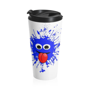 Blue Splatter Face Stainless Steel Travel Mug-Ceramic Mugs-Roc City Apparel-Roc City Apparel