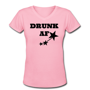 Drunk AF Funny Women's Drinking V-Neck T-Shirt - Cute Drinking T-Shirt - Roc City Apparel