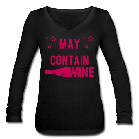 May Contain Wine Women's Long Sleeve  V-Neck Flowy Tee - Roc City Apparel