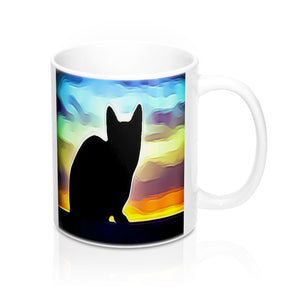 Colorful Cat Silhouette Mug-Ceramic Mugs-Roc City Apparel-Mug 11oz-Roc City Apparel