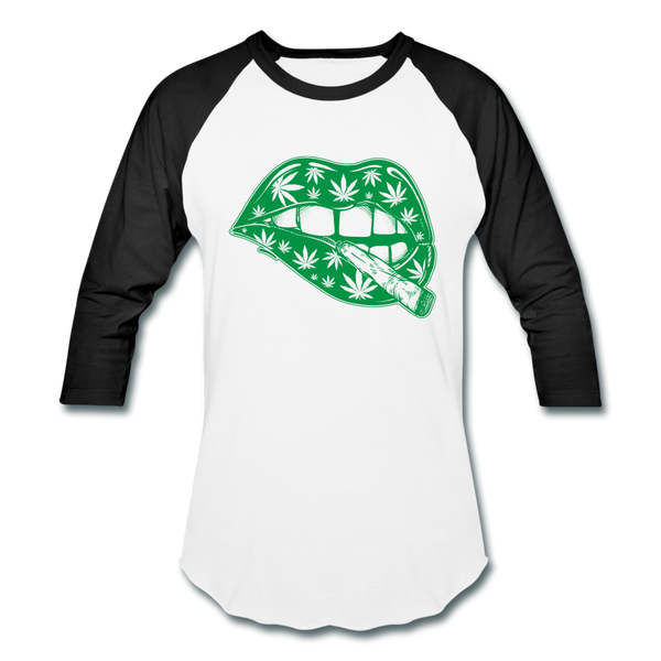 Marijuana Weed Lips Women's Raglan Baseball T-Shirt - Roc City Apparel