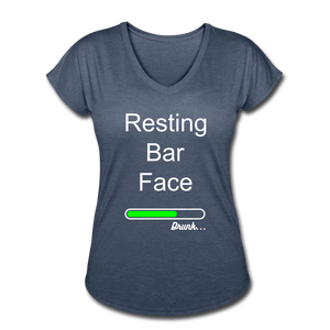 Resting Bar Face Cute Women's V-Neck T-Shirt - Roc City Apparel