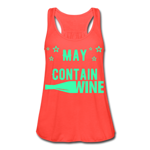 May Contain Wine Women's Flowy Tank Top - Roc City Apparel