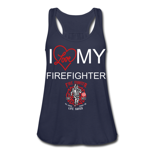 I Love My Firefighter Women's Flowy Tank Top - Roc City Apparel