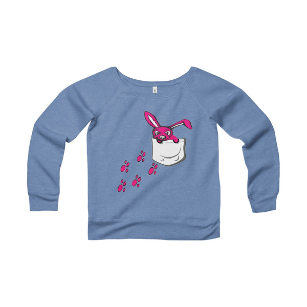 Pink Bunny Pocket Buddy Women's Sponge Fleece Wide Neck Sweatshirt-Sweatshirt-Roc City Apparel-Blue TriBlend-S-Roc City Apparel