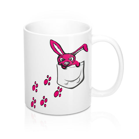 Adorable Bunny With Bunny Tracks Coffee Mug - Roc City Apparel
