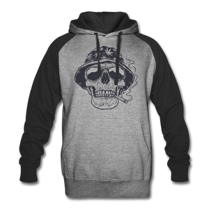 Marijuana 420 Skull Smoking Colorblock Hoodie - Roc City Apparel
