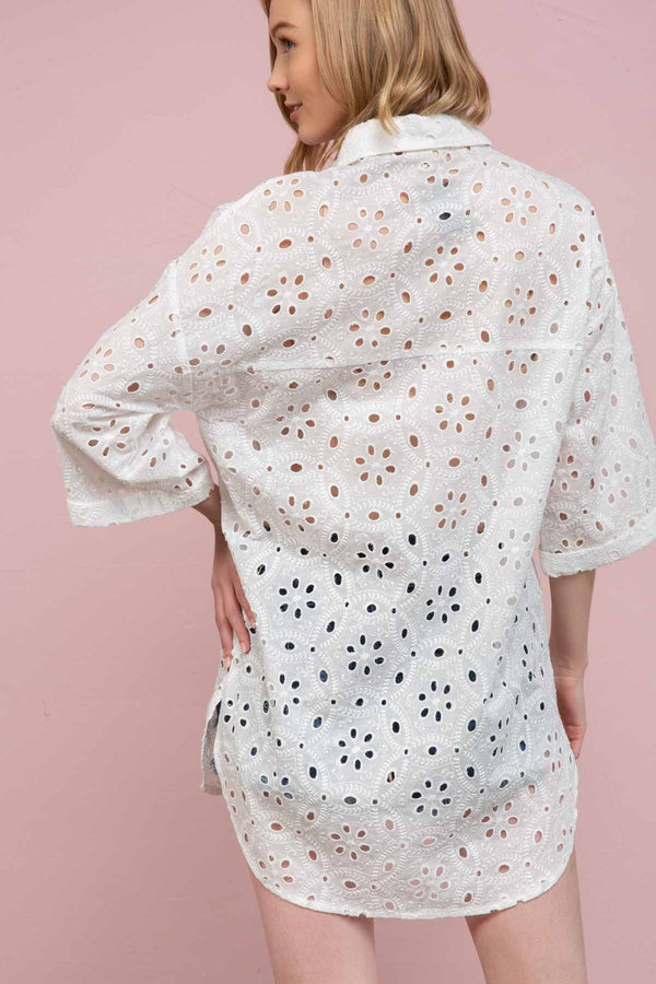 Eyelet Embroidered Shirt Tops - The Post Office by Shannon Passero. Fashion Boutique in Thorold, Ontario