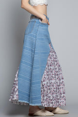Denim Floral Patchwork Skirt Bottoms - The Post Office by Shannon Passero. Fashion Boutique in Thorold, Ontario
