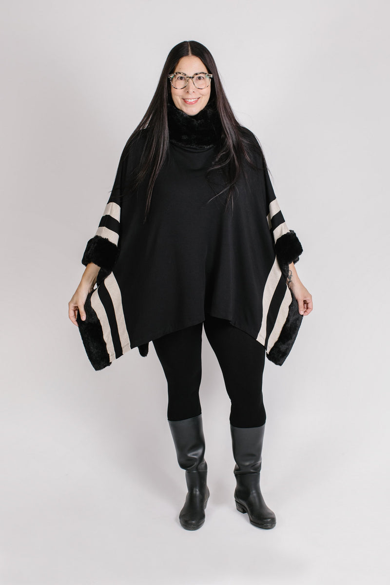 Cowl Neck Stripe Poncho Tops - The Post Office by Shannon Passero. Fashion Boutique in Thorold, Ontario