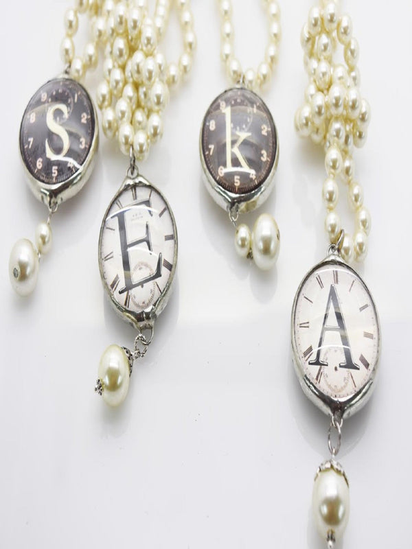 Clock Pearl Necklace Jewelry - The Post Office by Shannon Passero. Fashion Boutique in Thorold, Ontario