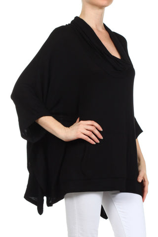 Cowl Neck Basic Poncho Top Mystree Canada