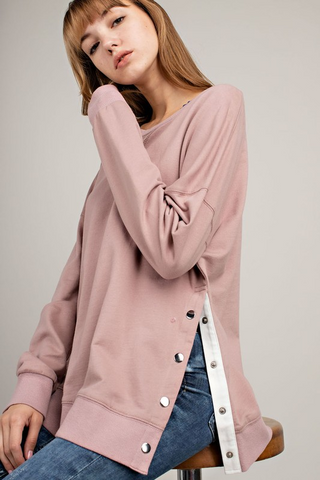 Snap Button Side Sweatshirt