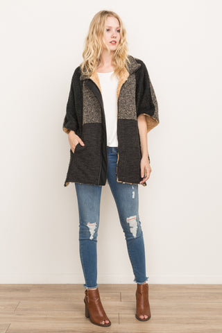 Mix Faux Fur Lined Poncho