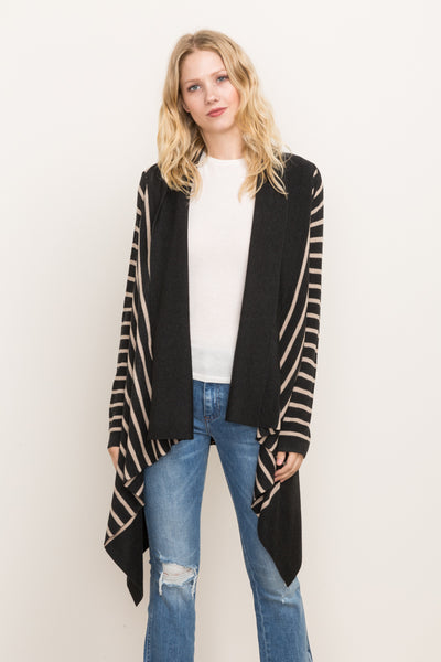 Stripe Open Cardigan