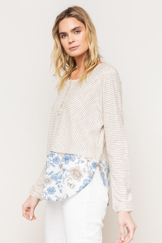 Floral Print Bottom Henley Top Mystree Canada