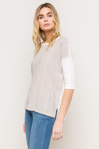 Plaid Woven Front Boxy Rib Top