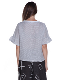 Thin Stripe Linen Top Baci Canada