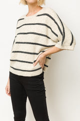 Wide Neck Stripe Sweater Top Tops - The Post Office by Shannon Passero. Fashion Boutique in Thorold, Ontario