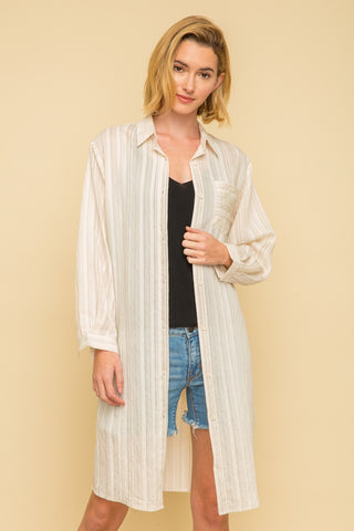Stripe Boxy Long Shirt