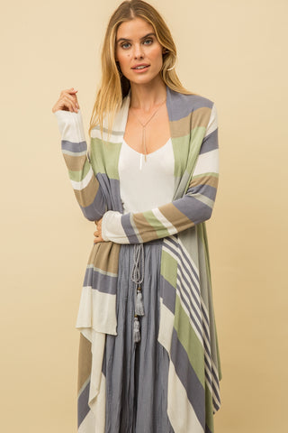 Multi Colour Drape Front Cardi