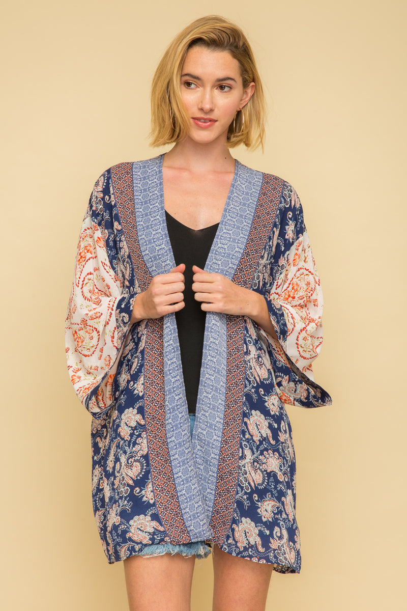 Pipping Border Print Kimono Coverups - The Post Office by Shannon Passero. Fashion Boutique in Thorold, Ontario