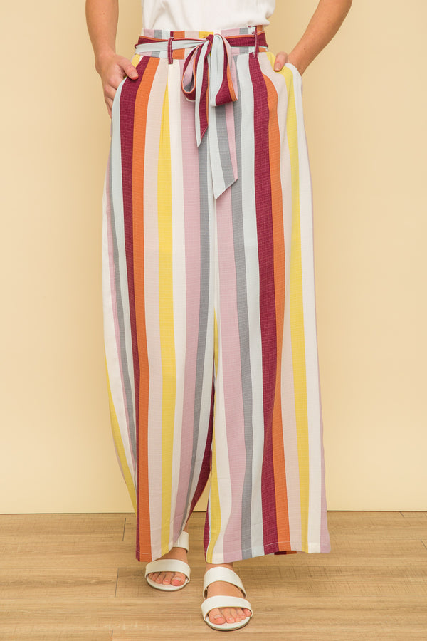 Mutli Colour Stripe Pants Bottoms - The Post Office by Shannon Passero. Fashion Boutique in Thorold, Ontario