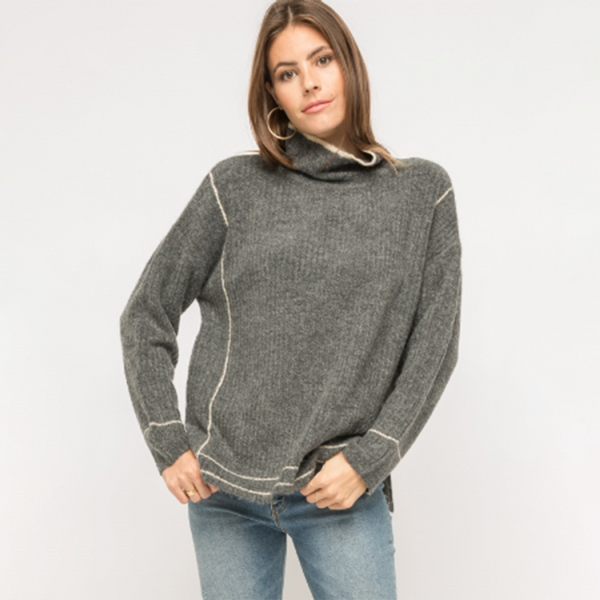 Exposed Hem Sweater Tops - The Post Office by Shannon Passero. Fashion Boutique in Thorold, Ontario