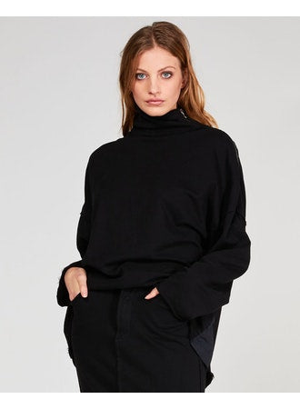 Raw Zip Turtleneck Sweater Tops - The Post Office by Shannon Passero. Fashion Boutique in Thorold, Ontario