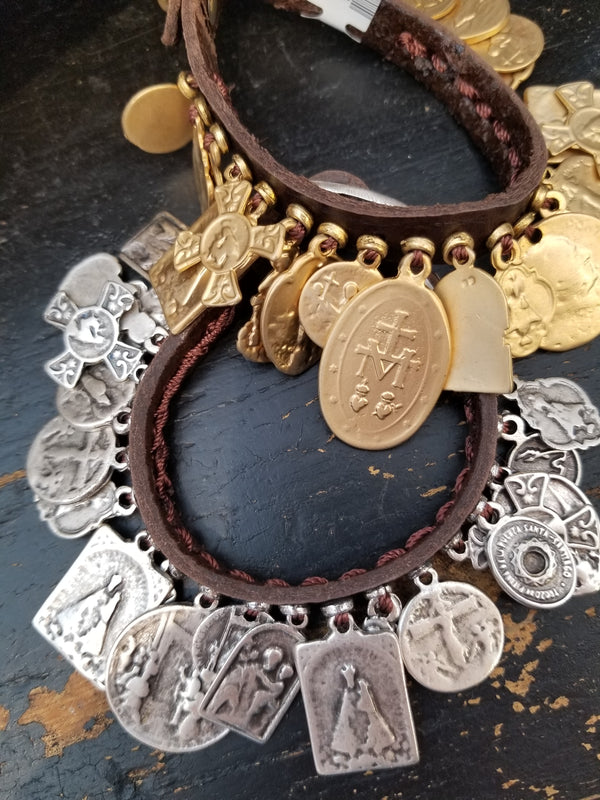 Leather Saints Charm Bracelet Jewelry - The Post Office by Shannon Passero. Fashion Boutique in Thorold, Ontario