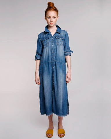 Chambray Work Skirtdress Baci Fashion