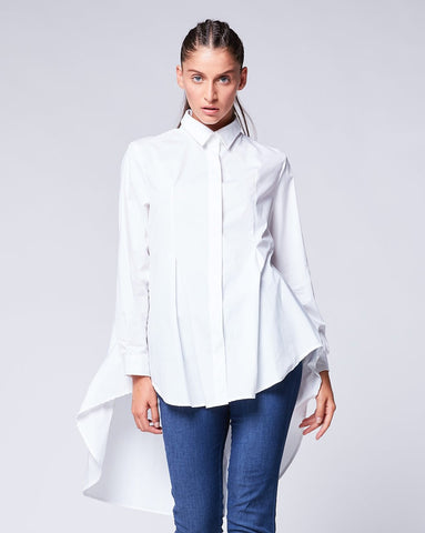 Pleated Back Button Shirtdress