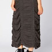 Cord Shirred Panel Skirt