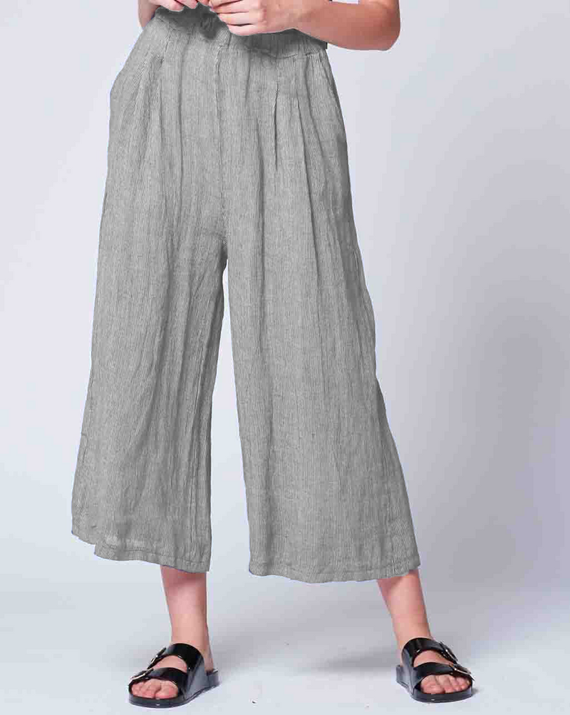 Pinstripe Linen Palazzo Pant Bottoms - The Post Office by Shannon Passero. Fashion Boutique in Thorold, Ontario