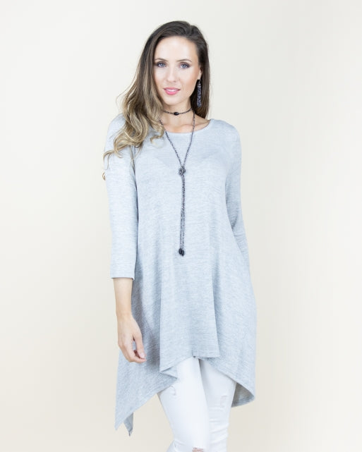 3/4 Sleeve Heather Tunic Tops - The Post Office by Shannon Passero. Fashion Boutique in Thorold, Ontario