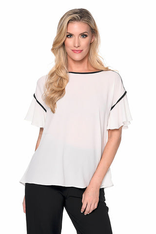 Flutter Sleeve Piped Top
