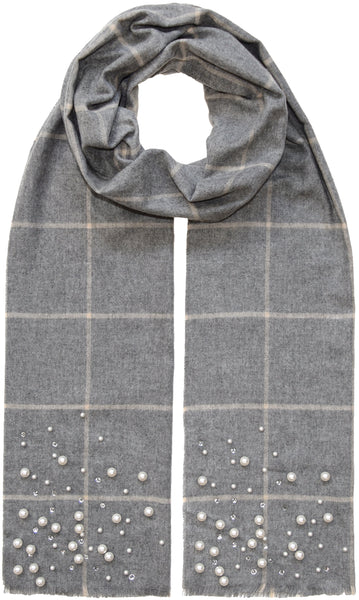 Grid Plaid Scarf with Pearls Fraas Scarves
