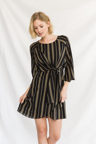 Tied Up Stripe Raglan Dress Mystree