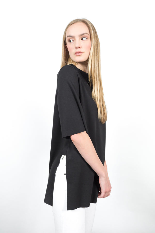 Double Ponte Side Slit Tunic Tops - The Post Office by Shannon Passero. Fashion Boutique in Thorold, Ontario