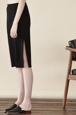 Double Ponte Side Slit Skirt Shannon Passero