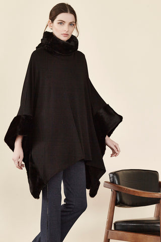 Square Poncho with fur collar by Shannon Passero