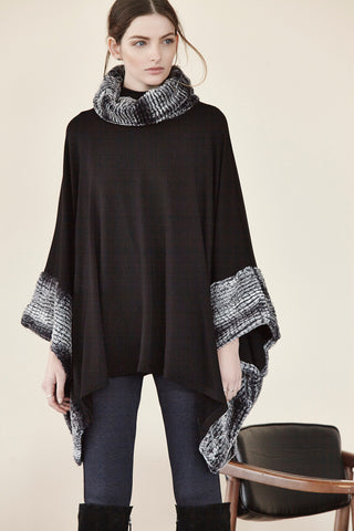 Square Poncho w/ Fur Collar