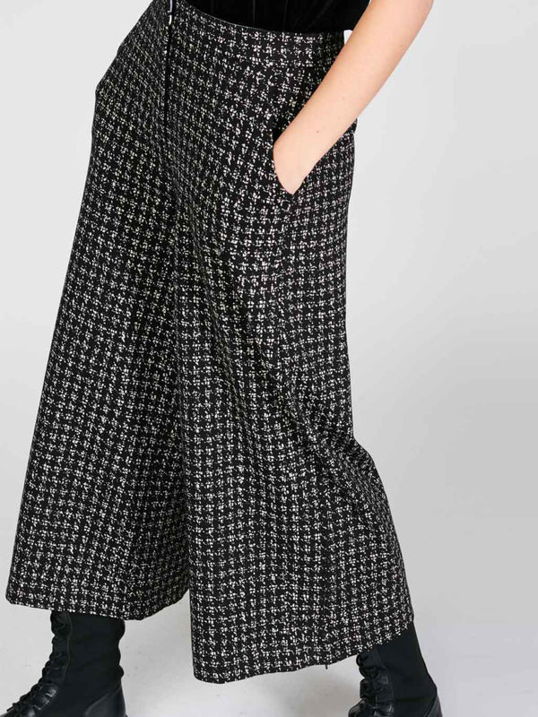 Houndstooth Wide Leg Trouser Bottoms - The Post Office by Shannon Passero. Fashion Boutique in Thorold, Ontario