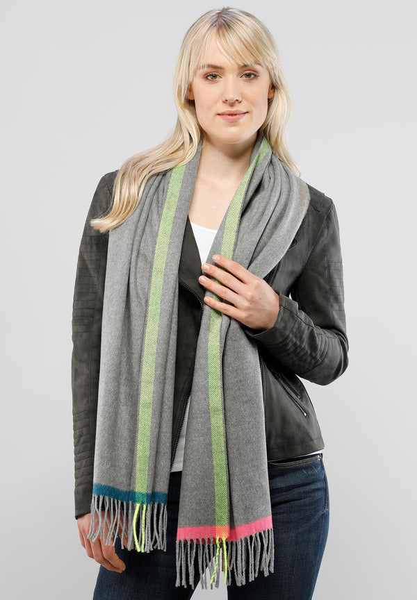 Eco Multi Border Scarf Accessories - The Post Office by Shannon Passero. Fashion Boutique in Thorold, Ontario
