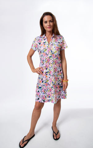 Vivid Short Sleeve Polo Dress