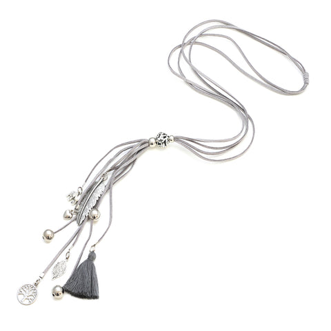 Suede Leaf and Tassle Necklace Suzie Blue